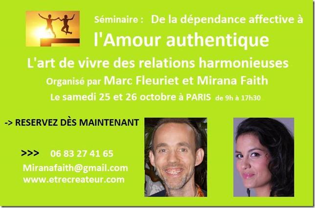 Affiche Séminaire De la dépencance Affective à l'Amour Authentique - Octobre 2014